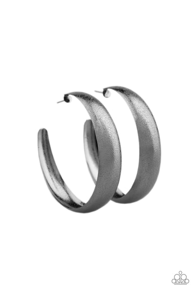 Paparazzi Accessories - HOOPS! I Did It Again - Gunmetal Earrings - JMJ Jewelry Collection