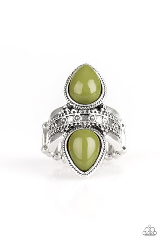 Paparazzi Accessories - New Age Leader - Green/Silver Ring - JMJ Jewelry Collection