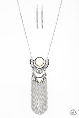 Paparazzi Accessories - Spirit Trek - White Necklace Set - JMJ Jewelry Collection