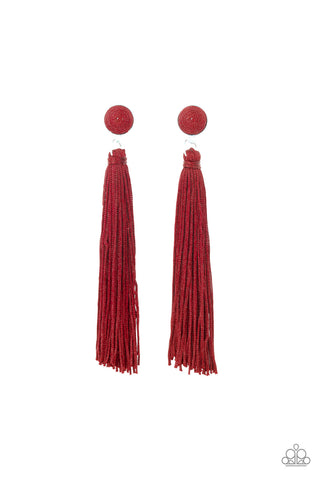 Paparazzi Accessories - Tightrope Tassel - Red Earrings