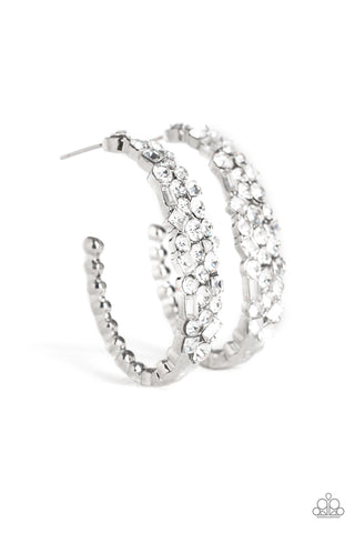 Paparazzi Accessories - A GLITZY Conscience - White Earrings
