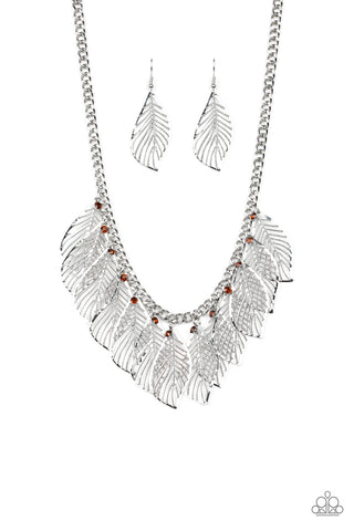 Paparazzi Accessories - Feathery Foliage - Brown Necklace Set - JMJ Jewelry Collection
