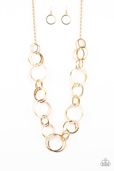 Paparazzi Accessories - Natural-Born RINGLEADER - Gold Necklace Set - JMJ Jewelry Collection