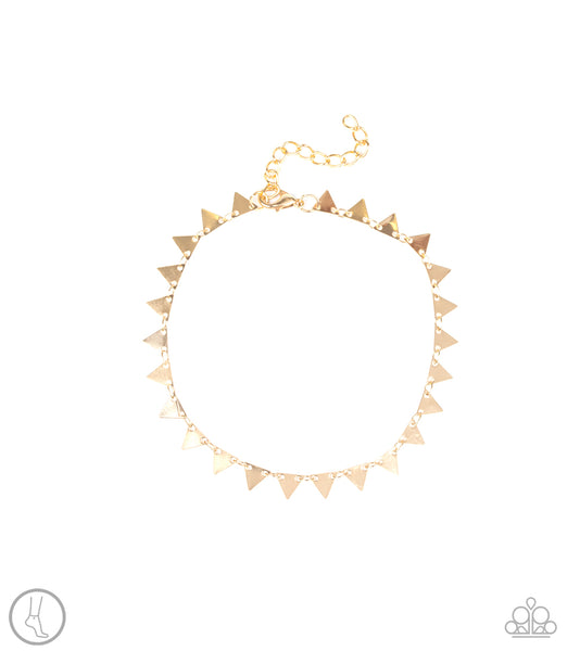 Paparazzi Accessories - Sand Shark - Gold Anklet - JMJ Jewelry Collection