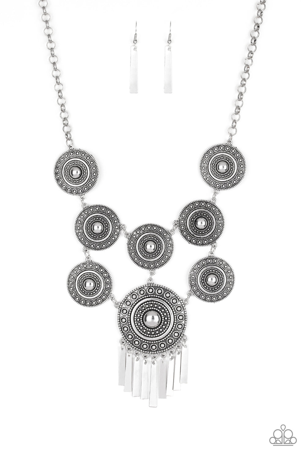 Paparazzi Accessories - Modern Medalist - Silver Necklace Set - JMJ Jewelry Collection