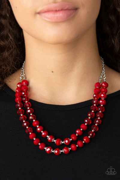Paparazzi Accessories - Glitter Gratitude - Red Necklace Set - JMJ Jewelry Collection