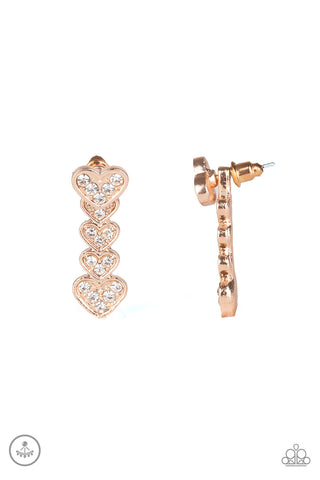 Paparazzi Accessories - Heartthrob Twinkle - Rose Gold Earrings