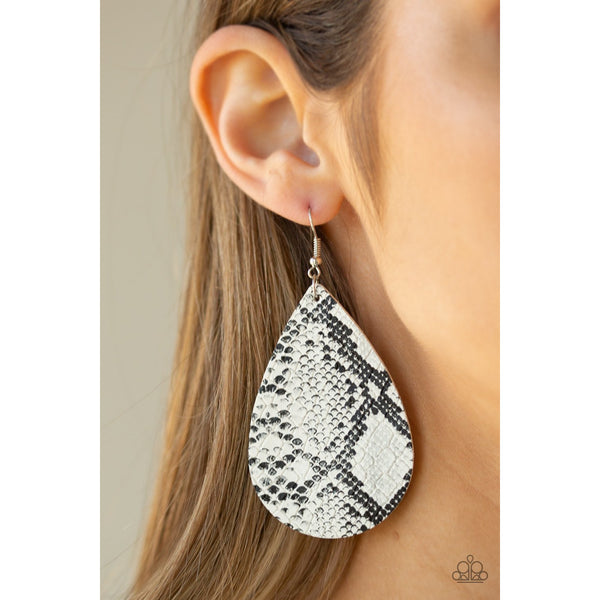 Paparazzi Accessories -   Hiss, Hiss - White Earrings - JMJ Jewelry Collection