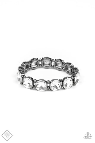 Paparazzi Accessories - Glitzy Glamorous - White Bracelet - JMJ Jewelry Collection