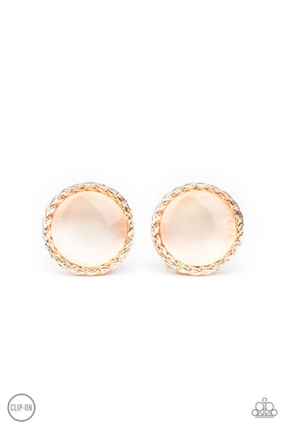 Paparazzi Accessories - Get Up and GLOW - Rose Gold Clip-On Earrings
