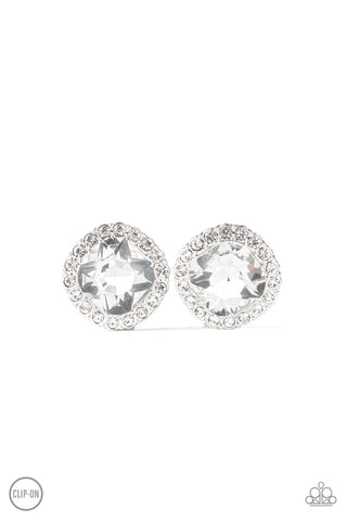 Paparazzi Accessories - Diamond Duchess - White Clip-On Earrings