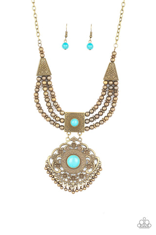 Paparazzi Accessories - Santa Fe Solstice - Brass Necklace Set