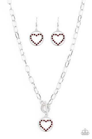 Paparazzi Accessories - With My Whole Heart - Red Necklace Set