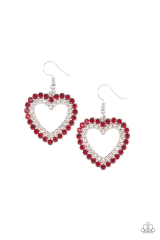 Paparazzi Accessories - High School Sweethearts - Red Earrings