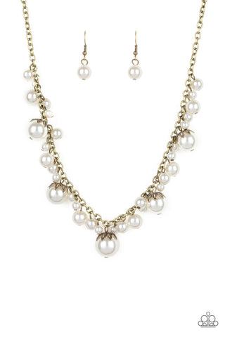 Paparazzi Accessories - Uptown Pearls - Brass Necklace Set