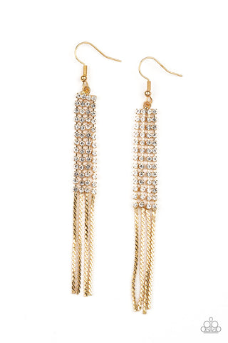 Paparazzi Accessories - Rhinestone Romance - Gold Earrings