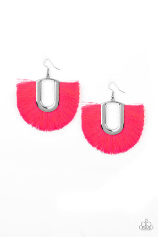 Paparazzi Accessories - Tassel Tropicana - Pink Earrings