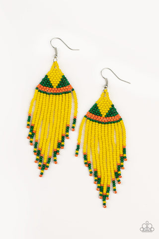 Paparazzi Accessories - BEADazzle Me - Yellow Earrings