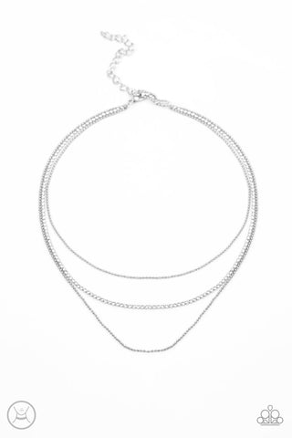 Paparazzi Accessories - Battle of the Glitz - White Choker Necklace Set