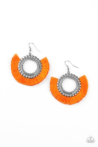 Paparazzi Accessories - Fringe Fanatic - Orange Earrings