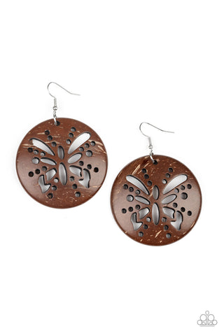 Paparazzi Accessories - Bali Butterfly - Brown Earrings