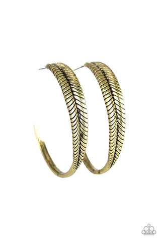 Paparazzi Accessories - Funky Feathers - Brass Earrings