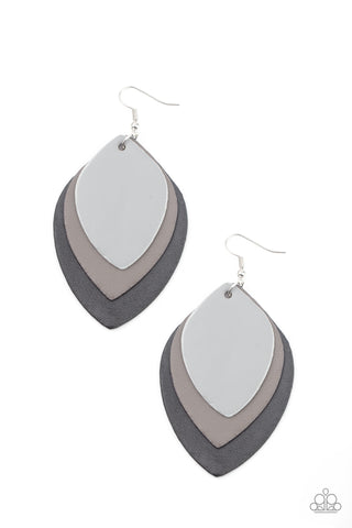 Paparazzi Accessories - Light as a LEATHER - Black Earrings