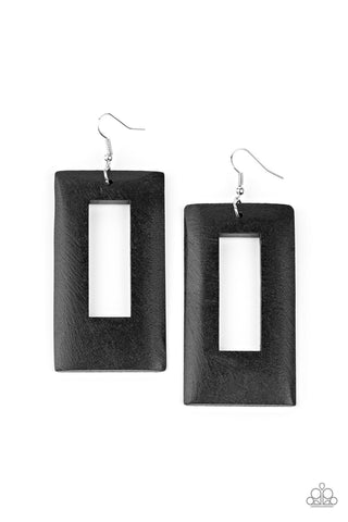 Paparazzi Accessories - Totally Framed - Black Earrings