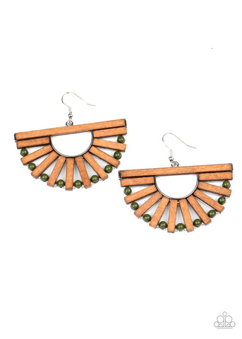 Paparazzi Accessories - Wooden Wonderland - Green Earrings