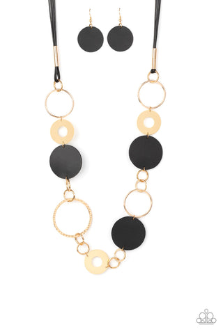 Paparazzi Accessories - Sooner or LEATHER - Black Necklace