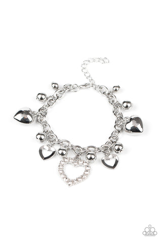Paparazzi Accessories - Beautifully Big-Hearted - White Bracelet