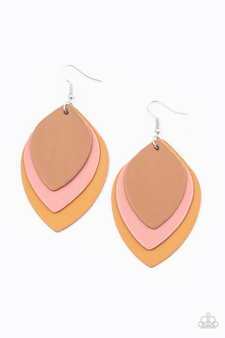 Paparazzi Accessories - Light as a LEATHER - Multicolor Earrings