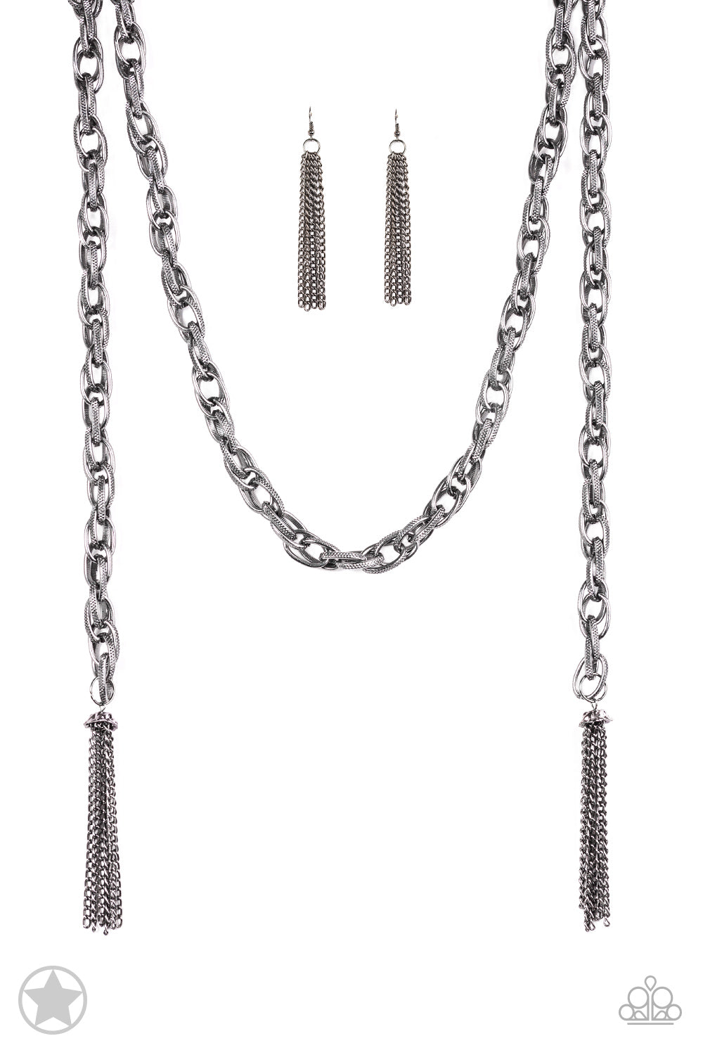 Paparazzi Accessories - Scarfed for Attention - Gunmetal Necklace Set - JMJ Jewelry Collection