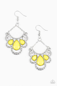 Paparazzi Accessories - Caribbean Royalty - Yellow Earrings - JMJ Jewelry Collection