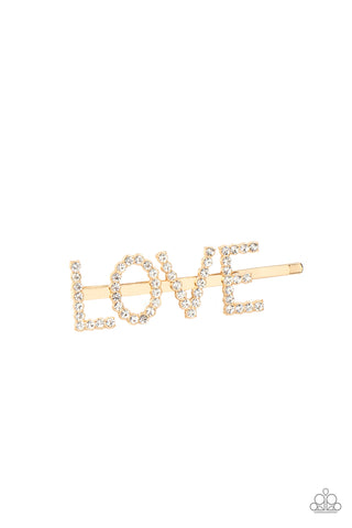 Paparazzi Accessories - All You Need Is Love - Gold Hair Clip