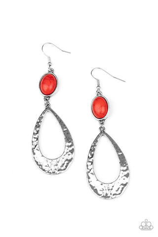 Paparazzi Accessories - Badlands Baby - Red Earrings