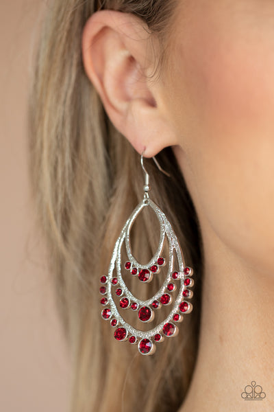 Paparazzi Accessories - Break Out In TIERS - Red Earrings