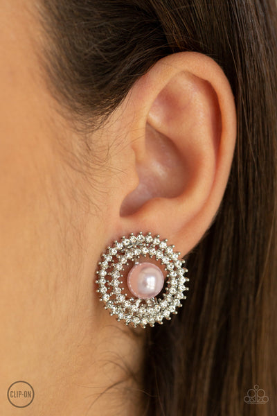 Paparazzi Accessories - Broadway Breakout - Pink Clip-On Earrings