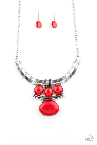 Paparazzi Accessories - Commander In CHIEFETTE - Red Necklace