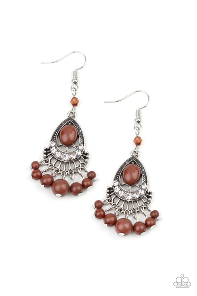 Paparazzi Accessories - Floating On HEIR - Brown Earrings
