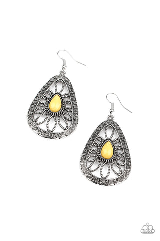 Paparazzi Accessories - Floral Frill - Yellow Earrings