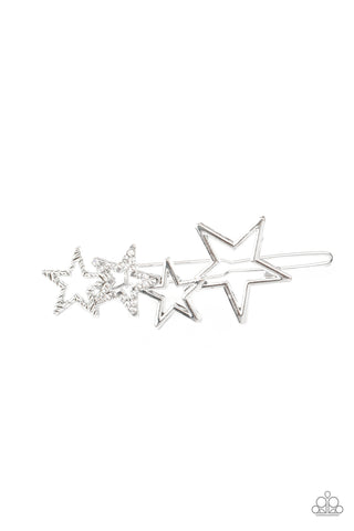 Paparazzi Accessories - From STAR To Finish - White Hair Clip