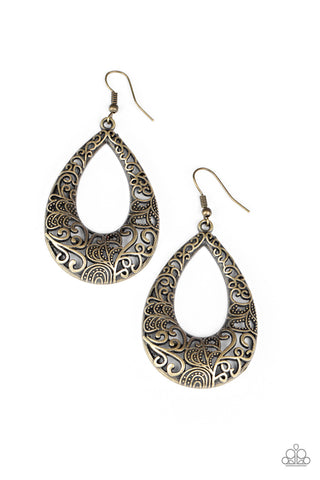 Paparazzi Accessories - Get Into The GROVE - Brass Earrings