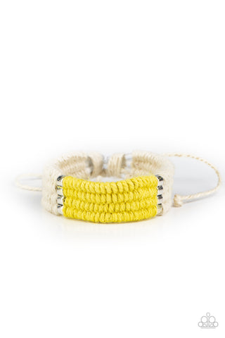Paparazzi Accessories - Hot Cross BUNGEE - Yellow Bracelet