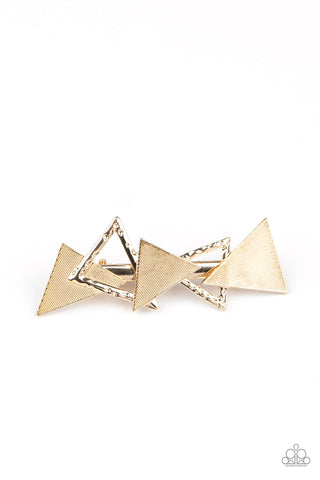 Paparazzi Accessories - Know All The TRIANGLES - Gold Hair Clip