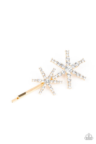 Paparazzi Accessories - Megastar Minimalist - Gold Hair Clip