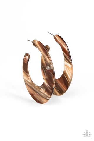 Paparazzi Accessories - Retro Renaissance - Brown Earrings