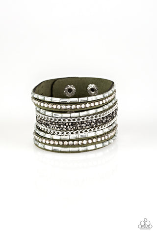 Paparazzi Accessories - Rhinestone Rumble - Green Bracelet