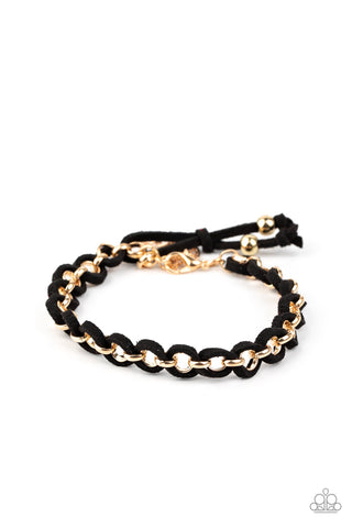 Paparazzi Accessories - SUEDE Side to Side - Black Bracelet