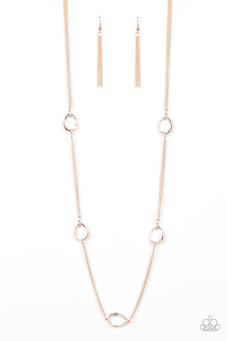 Paparazzi Accessories - Teardrop Timelessness - Rose Gold Necklace
